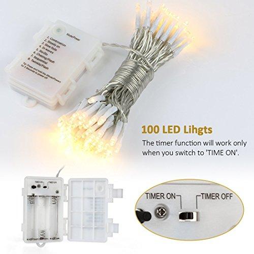 LED Outdoor Lichterkette Batterienbetrieben Warmweiß (8 Modi, IP65 Wasserdicht, Außenbeleuchtung) - 5