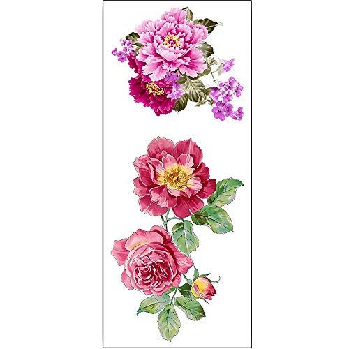Liqiqi Tattoo Aufkleber, Rose Blume temporäre Wasserdichte Tattoo Aufkleber für Körper, Gesicht, Arm/Armband Fake Tattoos, Temporäre Tattoos Set (1 Blatt)