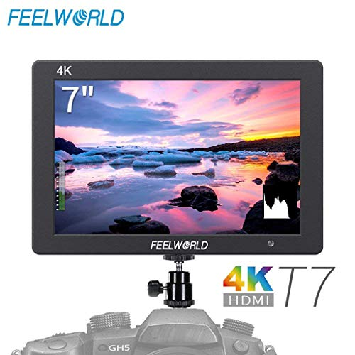 Sixcup FEELWORLD T7 7 Zoll IPS 4K HDMI Kamera Feld Monitor Video Assist Full HD 1920x1200 Gehäuse aus Massivem Aluminium DSLR Monitor mit Peaking Focus False Colors (Black) Feld Videos