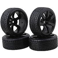 BQLZR Modelo de neumáticos de goma de coche con llantas de rueda de 7 radios Para RC1: 10 Pack de coches de carreras en carretera de 4