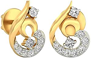 Aucent by PC Jeweller The Roisin 18 K Gold and Diamond Stud Earrings