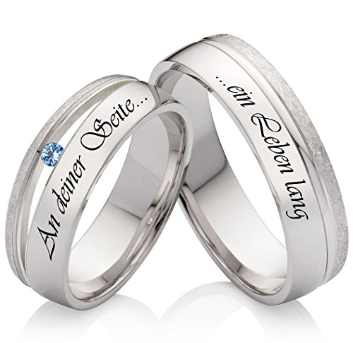 Eheringe Verlobungsringe Trauringe aus 925 Silber mit Blautopas und kostenloser Lasergravur SLT59