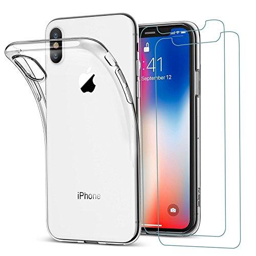 iPhone X Hülle+2xPanzerglas, iLiebe® Transparent Durchsichtig [Ultra Dünn] Klar Weiche TPU Schutzhülle für Apple iPhone 10 Schutzfolie 5.8 Zoll Premium 9H, 5-Mal Verbesserte Gehärtetes Glas, [Blasenfrei Kit], [3D Touch], Anti-Fingerabdruck