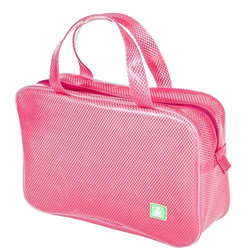 HOYOFO Wasserdicht Beschichtete Mesh Kulturbeutel Travel Make-up-Aufbewahrung Pink rose (Handtasche Tote Kunststoff)