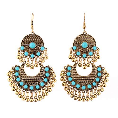 Andouy Retro-Ethno-Stil mit diamantbesetzten Türkis-Ohrringen mit Quastenohrring(D)