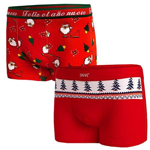 Bongual 2St Geschenkidee Herren Retroshorts Unterhose Baumwolle Weihnachten Motive Witz 3XL=8 2X Mix