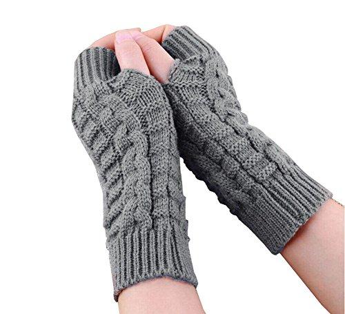 1Paar Strick fingerlos Winter Kurz, Elastic Stretch Winter Herbst warme Handschuhe für Damen Frauen Mädchen, hellgrau (Jacke Militärischen Frauen Stil)
