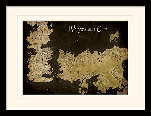 """30 x 40 cm de Juego de Tronos """"Poniente y Essos mapa antiguo"""" montado y impresión enmarcada"""
