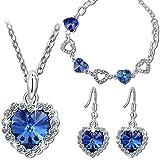 """P&M """"Amore Blu"""" Parure Donna-Cristallo Swarovski Elements Blu Cuore-Bracciale Collana Orecchini"""