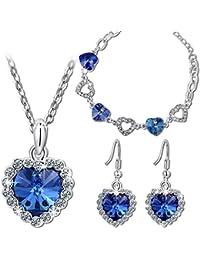 """Pauline & Morgen """"Amour Bleu"""" Parure Bracelet Collier Boucles d'Oreilles pour femme cristal plaque or blanc - Cet adorable parure est la maniere ideale de dire Je t'aime !"""