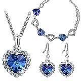 Kami Idea Mujer Conjunto de Joyas Collar Pendientes Pulsera Azul Chapado en Oro Blanco Cristales de Swarovski Regalos de Madres Joyeria para Aniversario Cumpleaños Dia de San Valentin Chicas Abuela