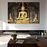 #10: 999Store Printed Golden Buddha In The Bamboo Forest Canvas Painting (36X24 Inches, Unframed)