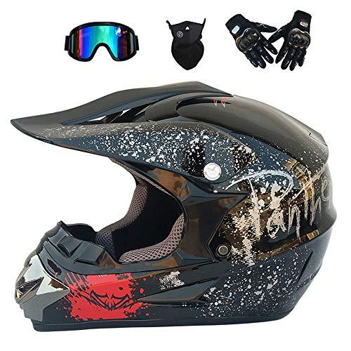 GWJ Adult Off Road Helm Dot Dirt Bike Motocross ATV Helm/Brille/Maske/Handschuhe,Brightblackfloral,M