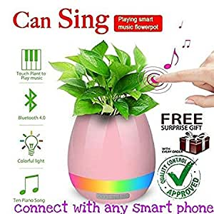 ZED BONE Smart Plant Pots Rechargeable Bluetooth Speaker and LED Night Lamp for All Smartphones (Random Colour)
