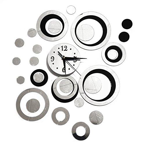 Sodial(r)3d di cristallo effetto specchio orologio da parete circolare composite diy moderno circle design nero