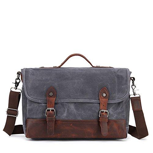 Mefly Spalla Singolo Croce Obliqua Pack Mail Bag Retrò Borsa Impermeabile Kaki gray