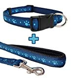 Blue Paw Print, Dog Collar and Lead Set, Choose Size, (Small Collar & Mini Lead)