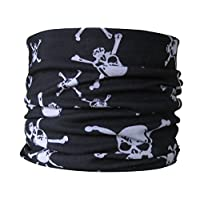 Multifunctional Tube Neck Scarf with Skull and Crossbones Pirate Design, Black & White