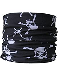 Multifunctional Scarf Tube Scarf Neck Skull and Crossbones Pirate Black & White