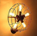 ZHAS American Style ländlichen Retro einfache Wand Lampe für Wohnzimmer Schlafzimmer Bett Wandleuchte persönliche kreative Kunst Industrial Wind elektrischer Ventilator Hardware Eisen Wandleuchte (Farbe: Schwarz)