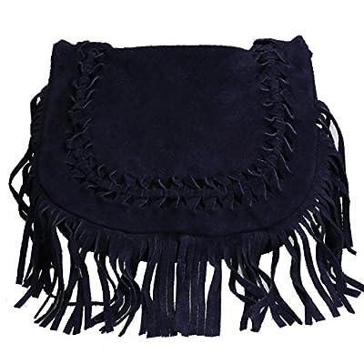 OLIVIA - Joli sac à main/bandoulière en cuir à franges N1243 Marron/Camel