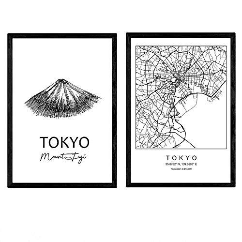 Nacnic Pack Poster Tokyo - der Mount Fuji. Blätter mit Denkmälern von Städten. A3 Größe (Mount Poster Fuji)