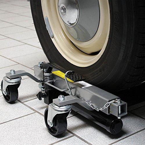 WilTec Paire Chariots Déplacement 2X Crics Go Jack Hydraulique 680kg PCE Chrage jusqu'à 30cm Largeur Pneu