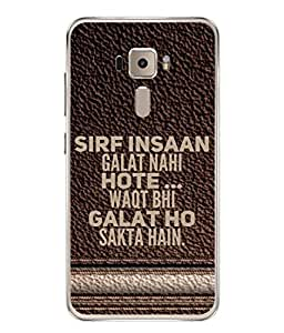 PrintVisa Designer Back Case Cover for Asus Zenfone 3 ZE552KL (5 Inches) (Waqt Insaan Leather Wooden Background)