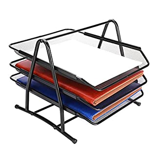 3 Compartments File File File Document Metal Letter Tray Organizer Desk Storage Holder for Folders Durable Stainless Steel for Home Office