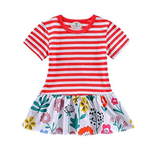 bobo4818 Kleinkind MäDchen Kind Blumen Streifenmuster Cartoon Kleid Outfits for 2-7 Jahre (2T, Red)