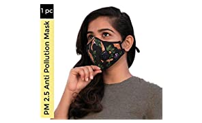 HAPPYWAGON PM 2.5 Filtration Activated Carbon Granules Cotton Rechargeable and Reusable Anti Pollution Mask (Tropical Breeze)