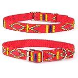 Strapazierfähiges Nylon Hunde Halsband Native Look große Hunderassen L XL XXL bunt rot XL