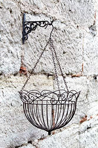 LB H&F Blumenampel Hängekorb Hängeampel Pflanzampel Pflanzkorb antik Deko Hängeschale Hängetopf Landhaus Shabby Metall (Ø 35 - Metall NEO)