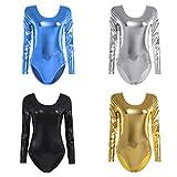 iiniim Mode Bodys String Racer Moto Femme Manches Longues en Cuir Col Rond Bodycon Justaucorps de Danse Ballet Gym Shapewear Jumpsuit Élastique S-XL