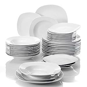 MALACASA, Série Elisa, 36pcs Services de Table Porcelaine, 12 Assiettes à Dessert, 12 Assiettes à Soupe, 12 Assiettes Plates Vaisselles pour 12 Personnes