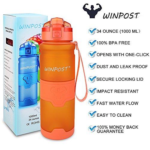 WINPOST Sport Trinkflasche-Tritan Wasserflasche-500ml&700ml&1000ml-BPA-Frei-Ideale Sportflasche-Schnelle Wasserdurchfluss,Flip Top,öffnet Sich mit 1-Click -