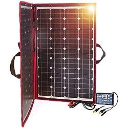 DOKIO Panneau Solaire 100W 12V Monocristallin Pliable avec Inverseur Solaire