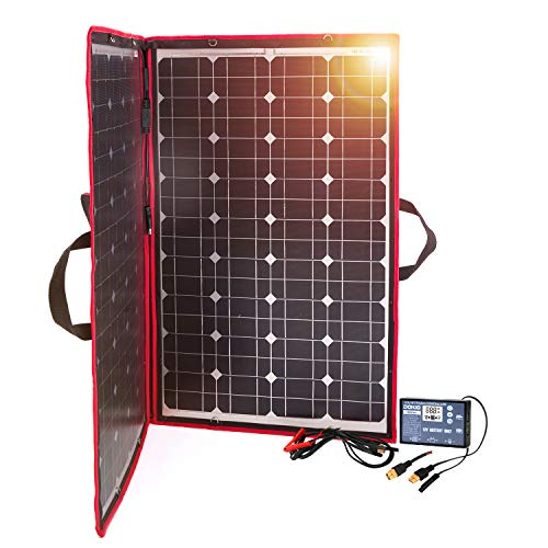 DOKIO 100W Panel Solar 12V Monocristalino Plegable con Inverter Solar Controlador