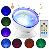 Ocean Wave Projector with Remote Control Night Light Sleep comfort Hypnosis Lamp with Built-in Music Player Multi-color Decoration Lamp for Kids Adults Nursery Bedroom Living Room Party(White)