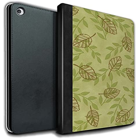 STUFF4 PU Pelle Custodia/Cover/Caso Libro per Apple iPad Air 2 tablet / Verde/marrone / Foglia/ramo modello disegno