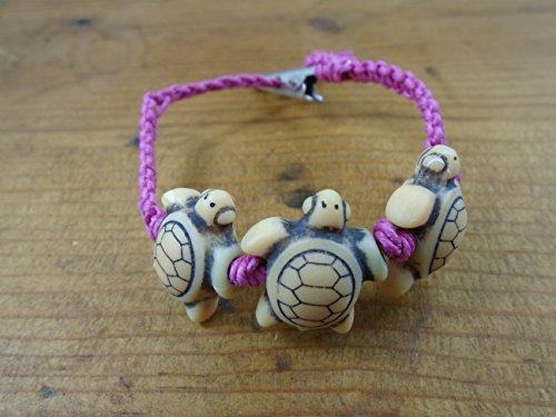 Rosa Schildkröte Hanf Armband Fußkettchen Choker oder Halskette -