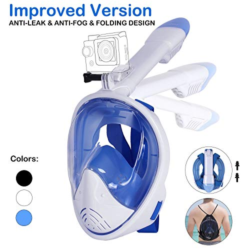 Unigear Máscara De Buceo 180° Vista Panorámica Facial Completa con Soporte para Cámara Deportiva Tubo Respirador Plegable Anti-Vaho Anti-Fugas Gafas Snorkel Pack Natación para Adultos Niño