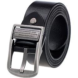 VBIGER Hombres Cinturón Cuero Genuino Cinturones con Hebilla Automática (un tamaño, negro DG9)