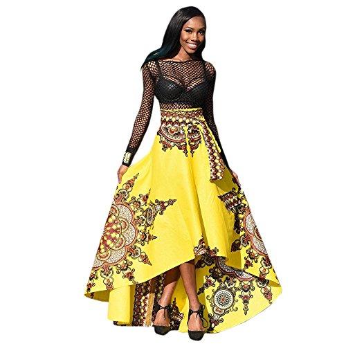 routinfly 2019 Neu Damen African Printed Boho Langes Kleid,Frauen Sommer Casual Beach Abend Party Maxi Rock Elegantes Sommerkleid Prom Swing Kleid (Rock Lange Blumen-skater)