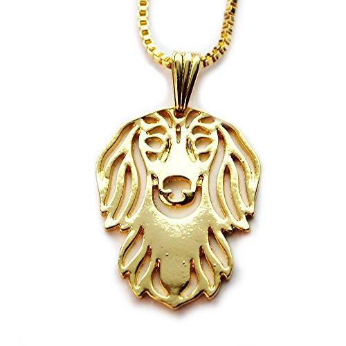 Miss-E-Jewels TM 24K placcato oro piccolo a pelo lungo bassotto cucciolo di cane ciondolo collana 45,7cm (in raso borsa) Pet Animal Lover Gift