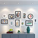 HJKY Photo Frame Wall Set El sofá en el salón pinturas murales del estilo nórdico pintura mural pintura mural combinada American restaurante moderno y minimalista, murales de 2-4 m de 25 mm de espesor de pared, en blanco y negro combinación