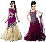 #6: JAKM Girl's Purple & Wine Velvet, Net Semi Stitched Combo Pack lehenga Choli, Salwar Suit, Gown (Kids Wear_Free Size_8-12 Year age)