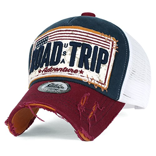 Ililily Road Trip Vintage Distressed Snapback Trucker Hat Baseball Cap