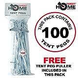 Target Homewares 100pc Heavy Duty–Piquetas   Acero Galvanizado   libre Tent Peg Puller