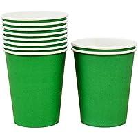 Mackur Papel Vasos Vajilla Desechable para Fiestas Desechables Vasos de Papel Bebidas Calientes fría para Partes Vasos de Papel para Bebidas Calientes 250ML, 10Unidades, Papel, Verde Oscuro, 250 ML